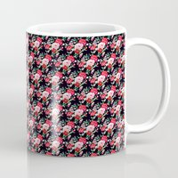 vampire weekend Mugs featuring Vampire Weekend Floral Pattern by Harold's Visuals