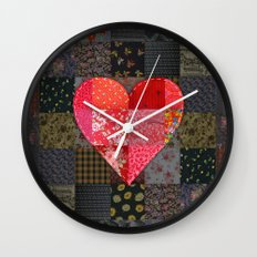 Patched Heart Wall Clock