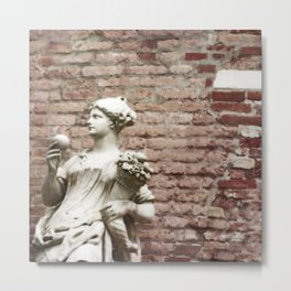 Old Brick Wall and Statue of a Woman Metal Print