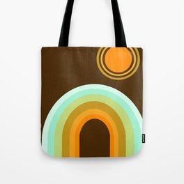 Boo-yah - retro 70s vibes minimal rainbow sunset california socal beach 1970's minimalist Tote Bag