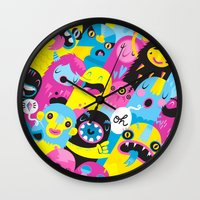 monsters Wall Clocks featuring Monsters by Lienke Raben