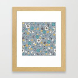 Emma_Wildflowers in Faded Denim Blue Framed Art Print
