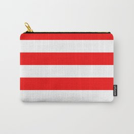 Jumbo Berry Red and White Rustic Horizontal Cabana Stripes Carry-All Pouch