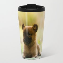 Malinois puppies in the soap blowing game Travel Mug