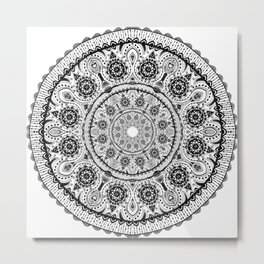 Black Lace mandala Metal Print