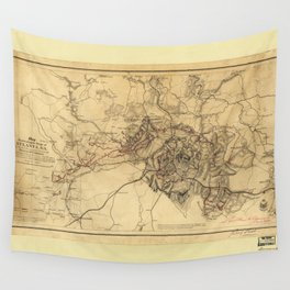 Civil War Map of the Siege of Atlanta, July 19th 1864-August 26th 1864 Wall Tapestry