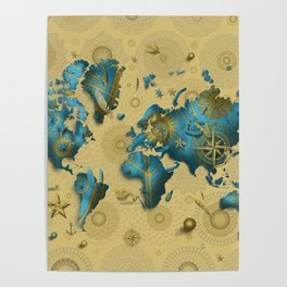 world map gold vintage decor Poster