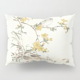 Birds and flowers - Japanese inspired watercolour Pillow Sham