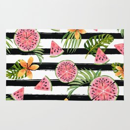 Watermelon black stripes Rug
