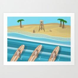 Team Pugs Surfing Art Print