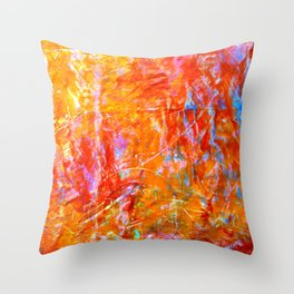 Abstract with Circle in Gold, Red, and Blue Throw Pillow