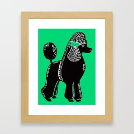 Black Standard Poodle with a Green Bow Framed Art Print