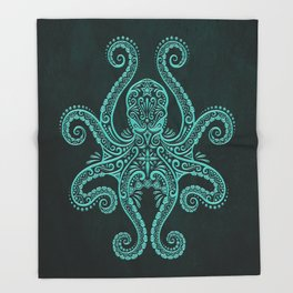Intricate Teal Blue Octopus Throw Blanket