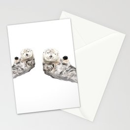 Sea Otters Watercolor Painting Stationery Cards