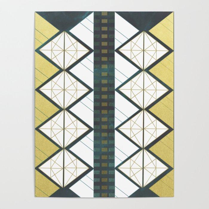Modern Gold Aqua Geometric Pattern Poster