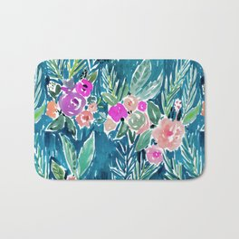 NAVY PARADISE FLORAL Tropical Hibiscus Palm Pattern Bath Mat