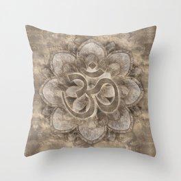 Om Symbol Lotus flower Vintage gold Throw Pillow