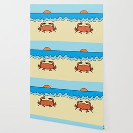 crab on beach with sunset Wallpaper