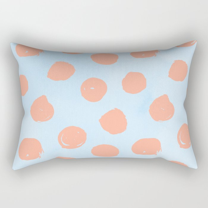 Sweet Life Dots Peach Coral Pink + Blue Raspberry Rectangular Pillow