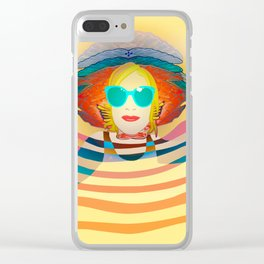 Swimming on Yellow Clear iPhone Case