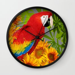 JUNGLE ART RED-BLUE MACAW PARROT & SUNFLOWERS Wall Clock