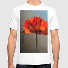 Red poppies White MEDIUM Mens Fitted Tee