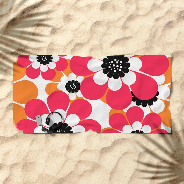 The floral pattern . red and yellow on a white background . Beach Towel