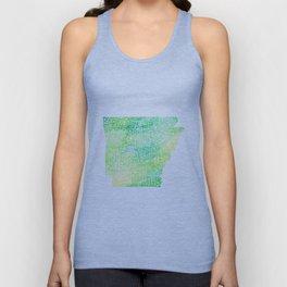 Typographic Arkansas - Green Watercolor Unisex Tank Top