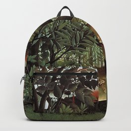 THE HUNGRY LION ATTACKING AN ANTELOPE - ROUSSEAU Backpack