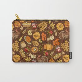 Cartoon cute hand drawn Thanksgiving seamless pattern. Colorful detailed, with lots of objects background. Endless funny vintage illustration. Bright colors backdrop with autumn items.  Carry-All Pouch