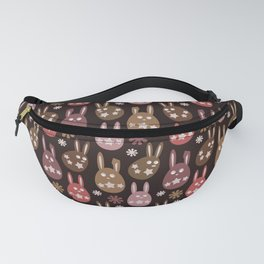 Chocolate Cream Orange Easter Egg Bunny Pattern - Brown Series Fanny Pack