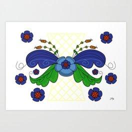 Folklore Flower Arrangement Art Print