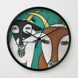 Two Goats Wall Clock