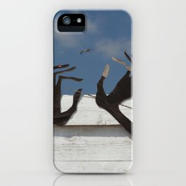 Hands and bird iPhone Case