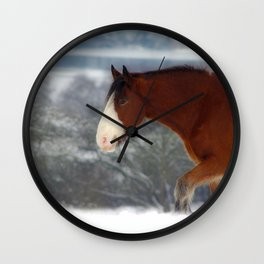 Horse in the snow Wall Clock