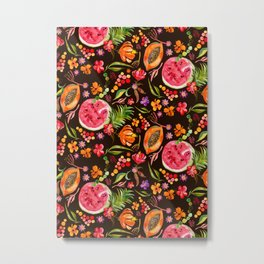 Tropical Fruit Festival in Black | Frutas Tropicales en Negro Metal Print