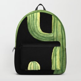 Simple Green Cactus on Black Backpack