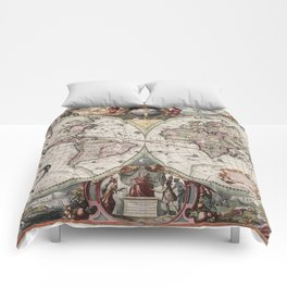 Vintage Maps Of The World Comforters