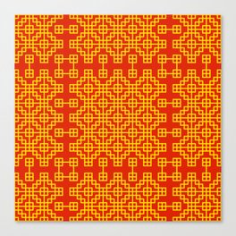 Chinese grid pattern in traditional colors Canvas Print