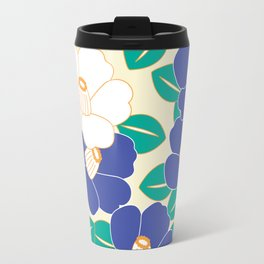 Japanese Style Camellia - Blue and White Travel Mug