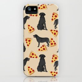 Black lab pizza dog breed pet portrait gifts for labrador retriever lovers iPhone Case