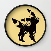 umbreon Wall Clocks featuring Umbreon by Polvo