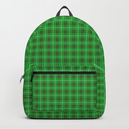 Christmas Holly Green and Evergreen Tartan with Red and White Lines Backpack