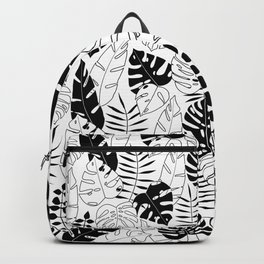 black and white tropical minimal leaves poster Backpack