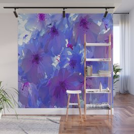 Blue Cherry Blossoms Wall Mural