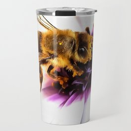 Springtime Honeybee On White African Daisy Travel Mug
