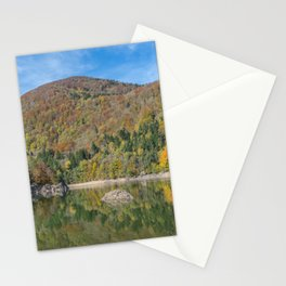 Autumn lake view in France Stationery Cards