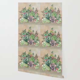 Colorful Succulents in Watercolor Wallpaper