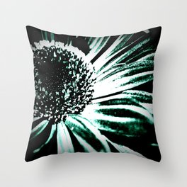 Daisy in Bloom; Black & White Throw Pillow