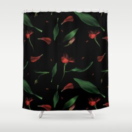 Moody Flowers and leaves on a black background Shower Curtain